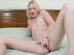 Horny blondie Aaliyah Jolie gives her cunt a wild finger fuck and pounds it with a sextoy live