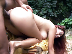 Sexy Cintia gets her perky nipples sucked and her moist pussy fucked after giving a deepthroat live