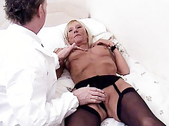 Foxy mature babe Kay giving a much younger stud an awesome blowjob live in this porn clip