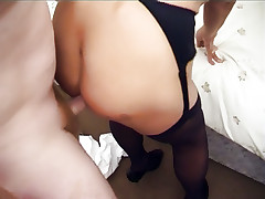 Stocking clad mature Kay goes down to give a deepthroat and gets extremely pounded live