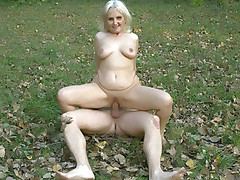Mature blondie Mandy blowjobs a hard wang and rides it with her old cooter in this outdoor fuckfest live