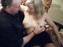 Mature blondie Chloe gets naked except for her stockings and gets her cunt licked and dicked live