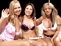 Cute Asian hooks up with two horny blonde lesbians and satisfy them with her ribbed pussy toy live