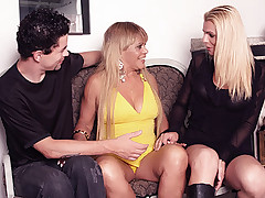 Pretty shemale Samara and her fuck buddy go for a threesome with a girl in this racy threesome session