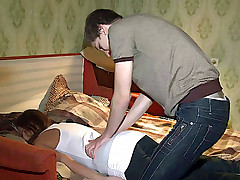 Guy gives massage to pretty babe and caresses her body
