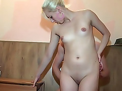 Blondie rides a fat cock of her tireless lover on a chair