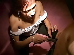 Sweet looking young lady makes his cock hard before blowjob