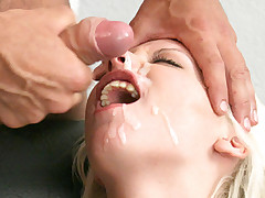 Hot secretary getting a large sperm load over her cute face