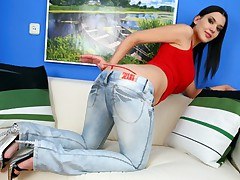 Brunette in red thong and tight blue jeans rides big cock in her ass