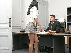 Hot brunette secretary rides her boss cock and gets facialed