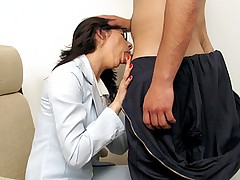 Lusty secretary sucks cock licked and gets anal fucked at her office