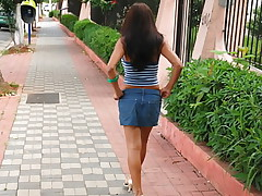 Lovely Latina in denim mini skirt rides guys big cock until he cums