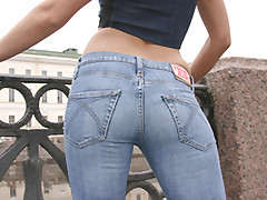 Blonde babe wearing jeans blows and rides a stiffy cock