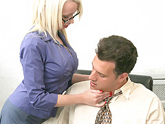 Blonde secretary rides her boss big cock and takes a hot facial