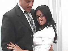 Brunette secretary gets fucked by her boss and takes sperm load on her face