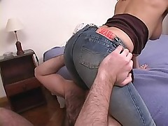 Redhead in tight blue jeans enjoy sucking a fat cock and pussy fucked