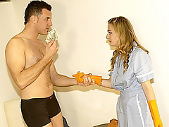 Petite blonde maid has clothes tore off and sucks studs big cock
