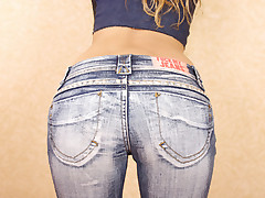 Hot jeans gets pumped in doggie style and takes jizz on her face