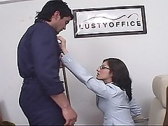 Horny secretary in lingerie sucking cock and getting fucked on the desk