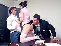 Horny redhead secretary in sexy lingerie gets big fat cock on her ass