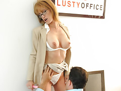 Milf secretary gets pussy licked and hard pumped at the office