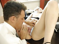 Sexy secretary gets pussy licked and fucked from behind