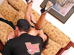 Slim brunette spreads her legs to get tits and pussy licked on a sofa