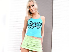 Blonde in green skirt tastes hard cock and rides