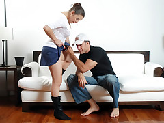 Mini skirt wearing babe getting her pussy and ass tongued by stud