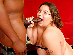 Horny BBW gets her slit pounded with black cock