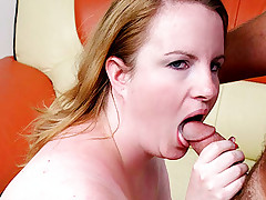 Lusty blonde BBW Nichole fills her mouth with a stiff meat stick before stuffing it in her pussy
