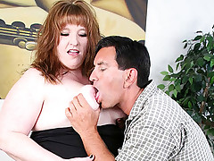 BBW hottie Roxy gets her fat ass naked for a bbw loving stud and gets him to stab her cunt from behind