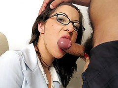 Cute brunette secretary does a blowjob and gets drilled