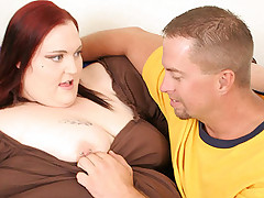 Massive BBW beauty Demissis showing off her huge tits and taking deep cock ramming in her cooze