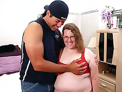 Sexy mature BBW Lorelie shows off her big fat breasts to lure a hunk into lending her his huge dick