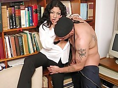 Hot brunette at the office spread legs on desk and gets pussy pumped