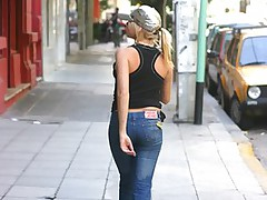 Hot blonde in tight jeans has pussy licked until she squirms and moans