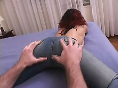 Redhead wearing blue jeans gets her ass licked and gets back fucked