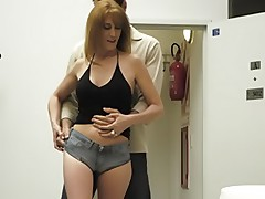 Hot milf gets her jeans ripped and her ass drilled