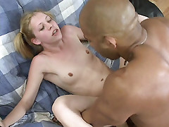 Petite blonde Leah Luv enjoys pussy eating and big cock pounding in her tiny pink pussy slit