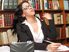 Busty brunette secretary enjoy sucking big cock and gets pussy licked