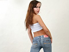 Hot babe in blue jeans swallows and fucks a hard dick