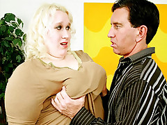 Lusty blonde fatty Tina Rose gets her fleshy slit stabbed deep with a stiff and meaty dick