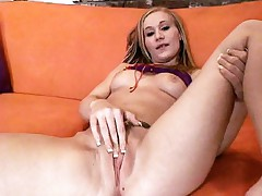 Hot blonde Katie Rae gets down on her knees so she could stroke two huge cocks