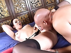 Cock hungry chick throat fucking a fleshy dick