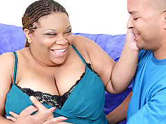 Ebony fatty gets her cunt wet with cock juice