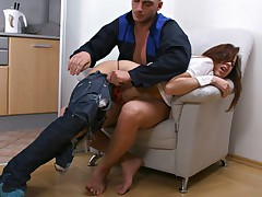 Hot babe with her pants ripped off is forced to take large cock in her ass