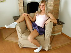 Petite blonde in purple miniskirt gets big cock stuffed in her pussy