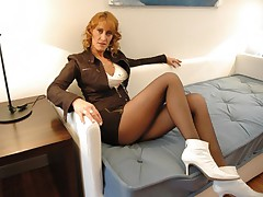 Redhead in slinky mini skirt gets pantyhose ripped and pussy fucked