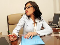 Horny secretary at the office gets pussy pumped hard on the desk